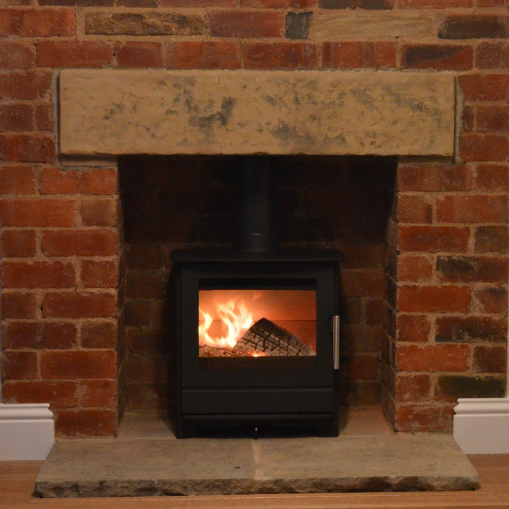 Heta Inspire 45 yorkshire stone hearth
